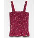 WHITE FAWN Floral Smocked Burgundy Girls Tank Top