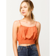 SKY AND SPARROW Smocked Coral Womens Crop Cami