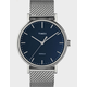 TIMEX Fairfield 41mm Stainless Steel Mesh Band Silver-Tone & Blue Watch