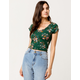 SKY AND SPARROW Floral Cinch Front Womens Crop Top