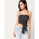 SKY AND SPARROW Floral Cross Back Navy Womens Crop Top