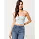 IVY & MAIN Smocked Ditsy Floral Womens Crop Tube Top