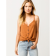 SKY AND SPARROW Button Tie Front Camel Womens Thermal Tank Top
