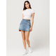 SKY AND SPARROW Utility Ripped Denim Skirt