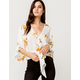 POLLY & ESTHER Kimono Floral Tie Front Ivory Womens Top