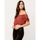 SKY AND SPARROW Ditsy Floral Crop Coral Womens Off The Shoulder Top