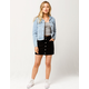 SKY AND SPARROW Button Front Black Denim Skirt