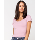 DESTINED Ribbed Scoop Neck Lavender Womens Tee