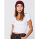 DESTINED Ribbed V-Neck White Womens Crop Tee