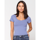 DESTINED Ribbed Scoop Neck Blue Womens Tee