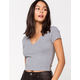 DESTINED Ribbed V-Neck Heather Grey Womens Crop Tee