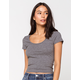 DESTINED Ribbed Scoop Neck Heather Gray Womens Tee
