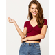 BOZZOLO Cinch Front Burgundy Womens Crop Tee