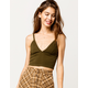 BOZZOLO V-Neck Olive Womens Crop Cami