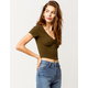 BOZZOLO Cinch Front Olive Womens Crop Tee