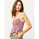 SKY AND SPARROW Floral Babydoll Womens Crop Tank Top