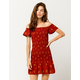 SKY AND SPARROW Ditsy Floral Smocked Off The Shoulder Dress