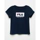 FILA Logo Box Navy Girls Tee