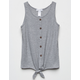 WHITE FAWN Thermal Tie Front Heather Gray Girls Tank Top