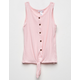 WHITE FAWN Thermal Tie Front Pink Girls Tank Top