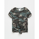WHITE FAWN Camo Girls Tie Front Tee