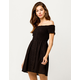 SKY AND SPARROW Smocked Button Front Black Off The Shoulder Dress