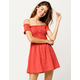 SKY AND SPARROW Smocked Button Front Red Off The Shoulder Dress