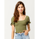 SKY AND SPARROW Smocked Puff Sleeve Womens Crop Top