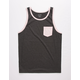 BLUE CROWN Solid Charcoal Mens Pocket Tank Top