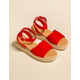 BAMBOO Jute Ankle Wrap Red Womens Espadrille Flatform Sandals