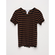FULL TILT Essentials Ribbed Stripe Black Girls Tee