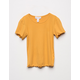 FULL TILT Essentials Ribbed Lettuce Edge Mustard Girls Tee