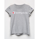 CHAMPION Logo Heather Gray Girls Tee
