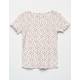 WHITE FAWN Floral Lettuce Edge Girls Tee