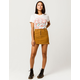 SKY AND SPARROW Exposed Button Corduroy Mini Skirt