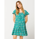 PATRONS OF PEACE Floral Teal Green Dress