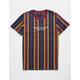 SHOUTHOUSE Brooklyn Stripe Burgundy Mens T-Shirt