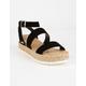 SODA Ankle Banded Black Womens Espadrille Flatform Sandals