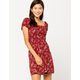 SKY AND SPARROW Smocked Peasant Burgundy Dress