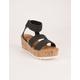 WILD DIVA Raffia Cork Wedge Black Womens Sandals