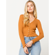 SKY AND SPARROW Solid Pointelle Camel Womens Cardigan