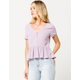 H.I.P. Solid Button Front Peplum Lavender Womens Top