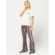 SKY AND SPARROW Linear Gray & Black Womens Flare Pants