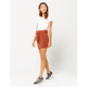 SKY AND SPARROW Paperbag Waist Rust Mini Skirt