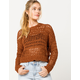 SKY AND SPARROW Open Weave Brown Womens Crop Sweater