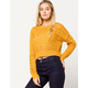 SKY AND SPARROW Open Weave Mustard Womens Crop Sweater