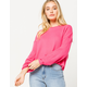 SKY AND SPARROW Ribbed Balloon Sleeves Hot Pink Womens Sweater
