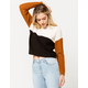 FULL TILT Color Block Tan Womens Sweater