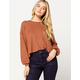SKY AND SPARROW Ribbed Balloon Sleeves Rust Womens Sweater
