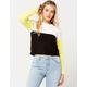 FULL TILT Color Block Neon Yellow Womens Sweater